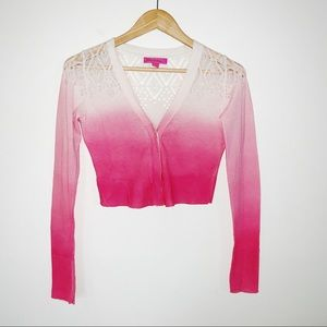 Betsey Johnson Cropped Ombré Cardigan